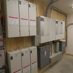 Six solar controllers which regulate the sub-arrays charging, three inverters and associated switch gear.