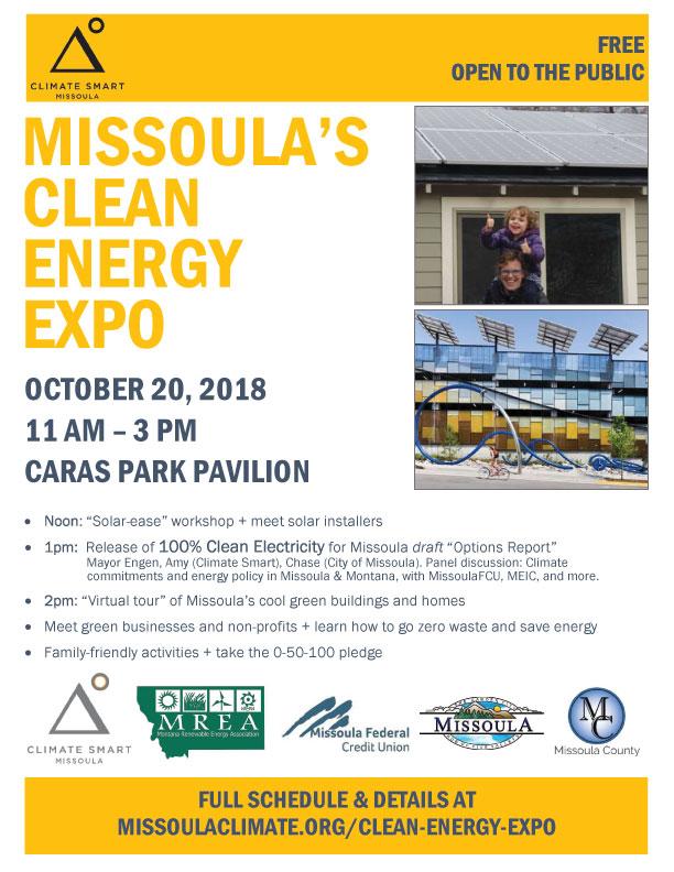 Missoula Clean Energy Expo, Saturday, October 20, 2018